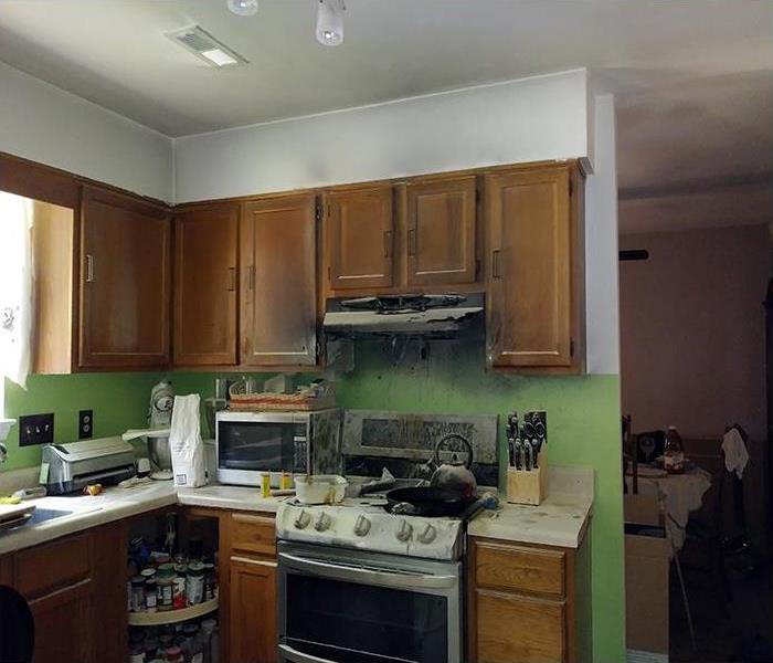 Fire Damaged Kitchen In Raleigh Before